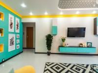 Гостиная бирюзового цвета — фото идей дизайна гостиной в монотонных цветах.