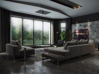 Черная гостиная — стильный, монохромный дизайн на 100 фото