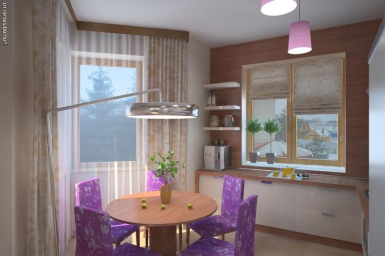 awesome-kitchen-table-set-in-small-space-with-purple-floral-dining-table-set-plus-pendant-lamp-and-shelves-on-the-wall-and-beige-curtain-window