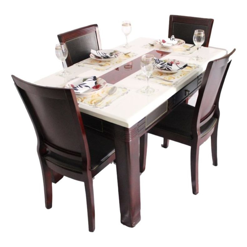 casual_marble_dining_table_set_mohagany_finish_with_2_drawers_solid_wood_2_