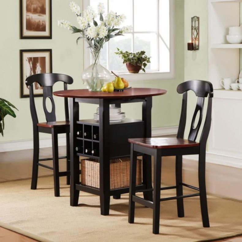 small-high-top-round-kitchen-table-with-rattan-basket-storage-and-chairs-with-high-back-painted-with-red-and-black-color-decoration-ideas