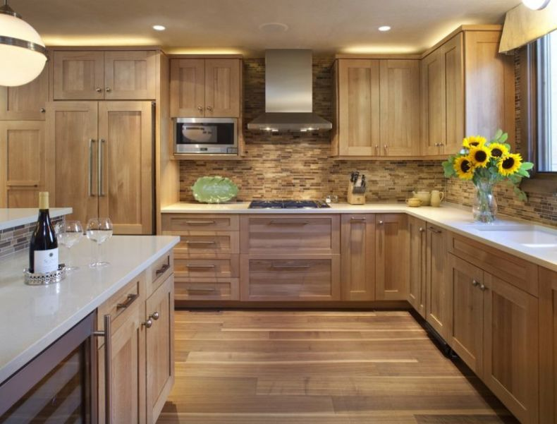 sunflower-kitchen-decoration-idea-also-attractive-wood-backsplash-feat-single-microwave-with-recessed-lighting
