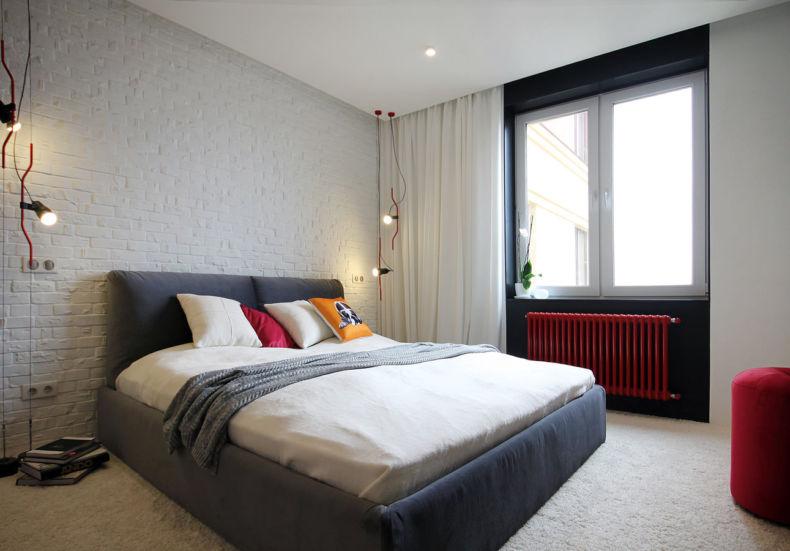 Интерьер лофт спальни в бело-черных тонах