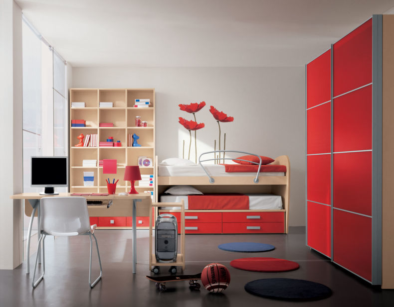 adorable-red-theme-of-modern-kids-bedrooms-designed-in-minimalist-style-and-furnished-with-modern-bedroom-furniture-such-awesome-bunk-bed-beside-open-storage