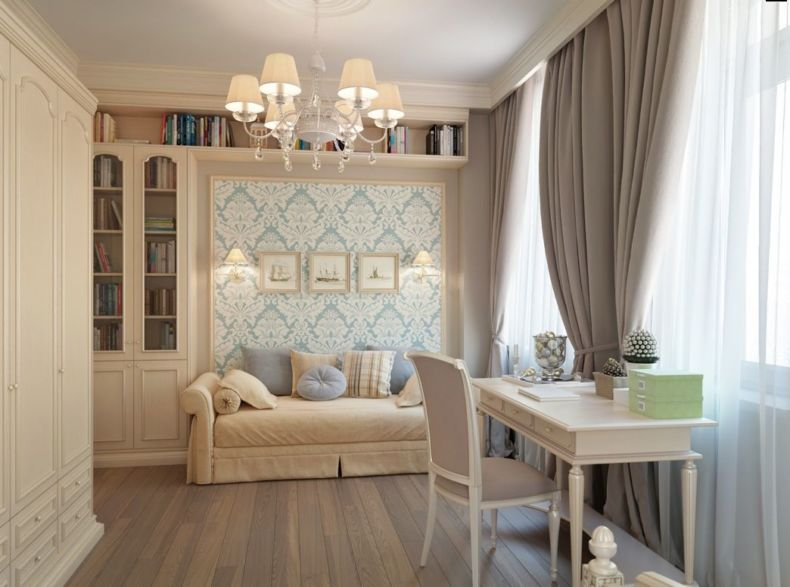 blue-wallpaper-taupe-brown-curtains-bedroom