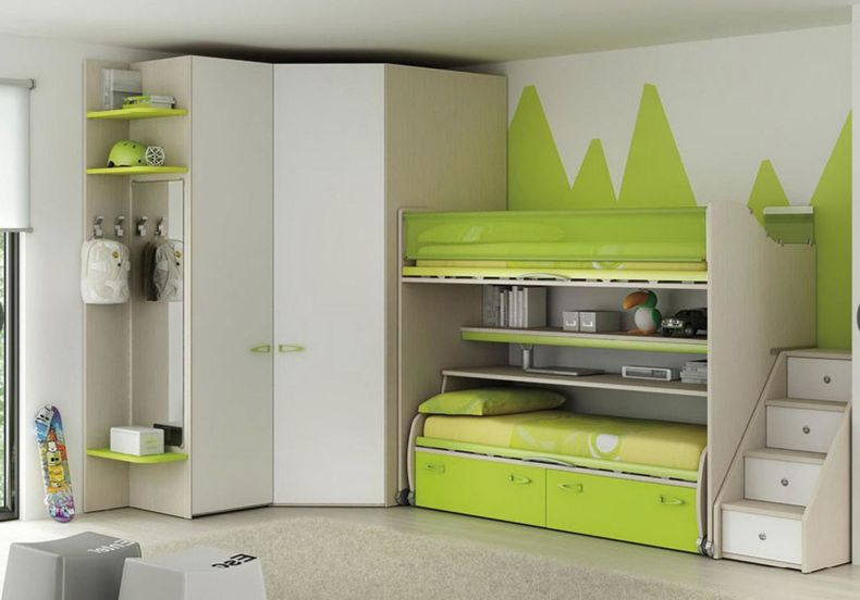 cool-green-bunk-bed-and-wall-decal-ideas-for-modern-childrens-bedroom-design