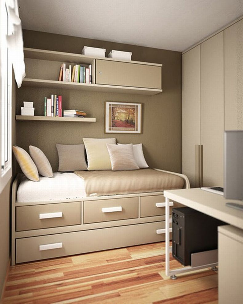decorating-ideas-for-small-bedrooms-apartment-brown-design-interior-with-full-furniture