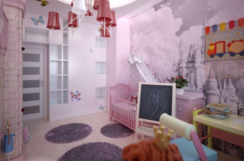 Дизайн интерьера детской комнаты девочки с замком