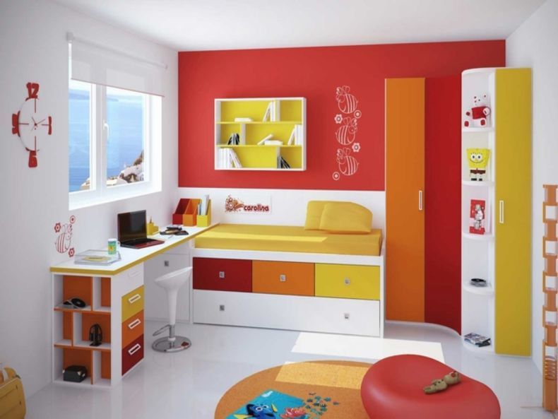 awesome-white-orange-yellow-wood-glass-modern-design-small-kids-bedroom-white-and-orange-wall-paint-wood-bed-under-storage-yellow-mattres-desk-cabinet-windows-at-kids-room-with-boy-bedroom-designs-plu