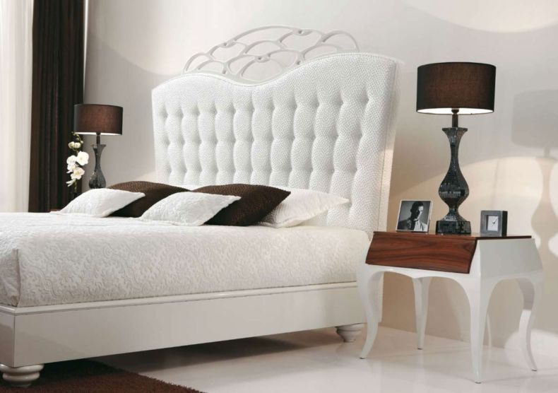 beautiful-bedroom-decor-with-white-headboard-bed-unit-and-black-lamp-shades-for-luxurious-furniture