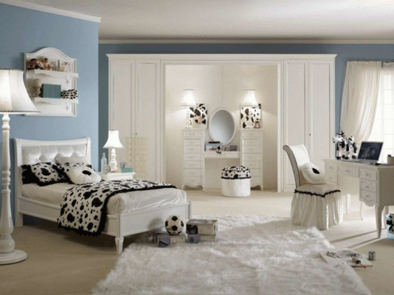 bedroom-elegant-girl-blue-and-black-bedroom-design-and-decoration-using-light-blue-bedroom-wall-paint-including-rectangular-furry-white-bedroom-rug-and-tufted-small-white-linen-girl-headboard-great-pi