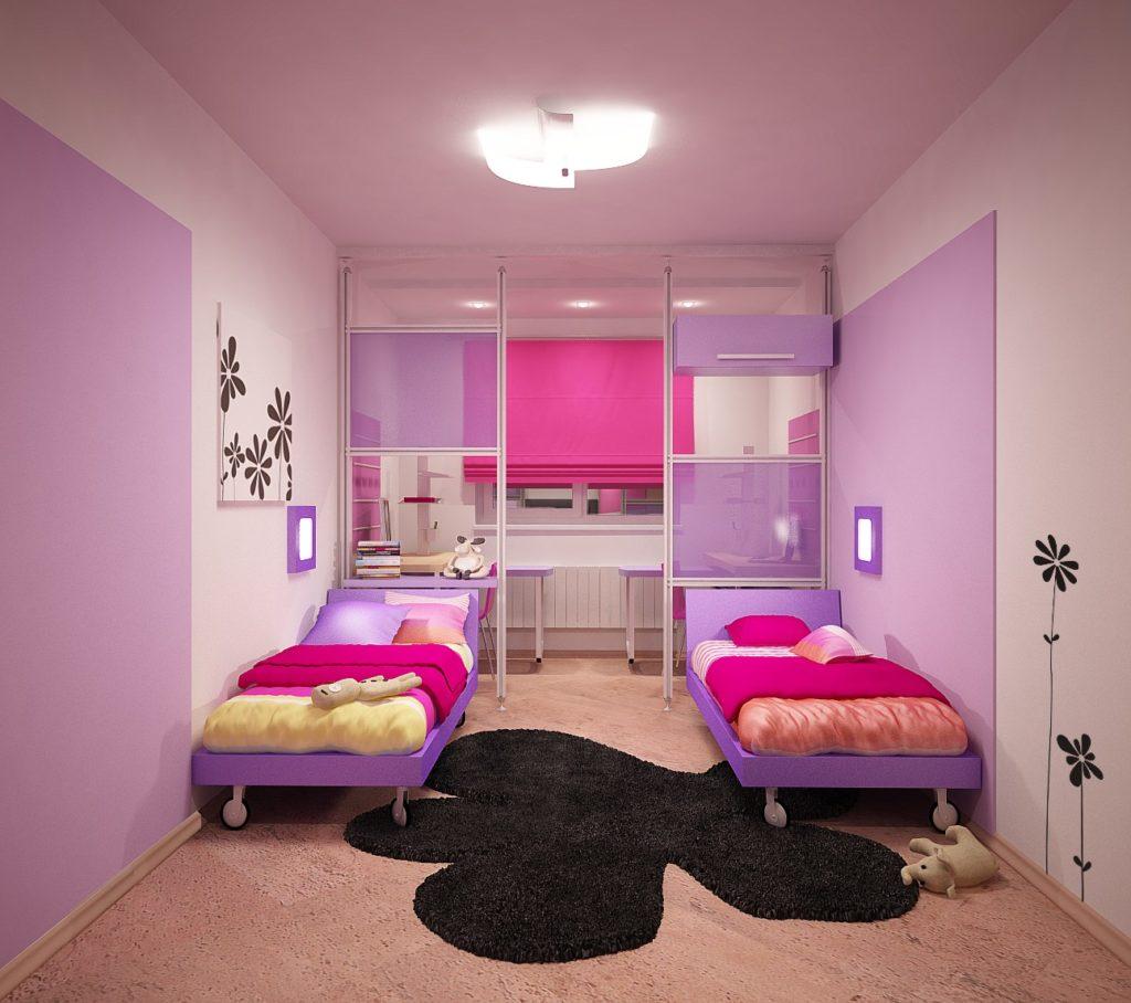 Фото дизайна детских комнат для двух девочек