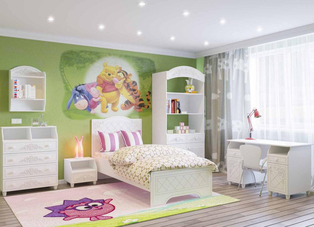 отразить мебель для детской комнаты белая для девочки использовал клей