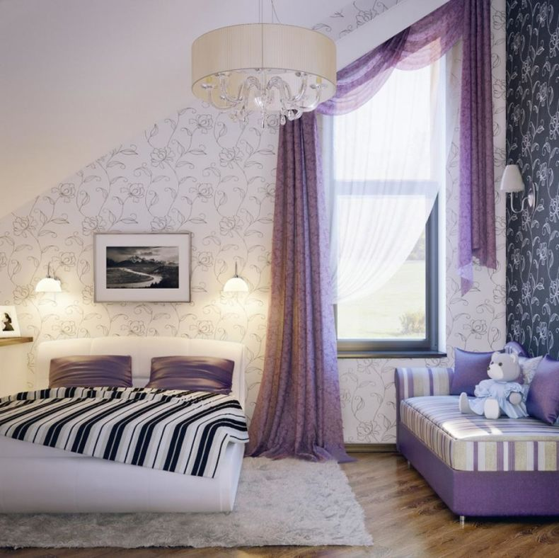 girls-bedroom-curtains-bedroom-cheerful-girl-bedroom-ideas-with-colourful-wallpaper-and-purple-curtain-colourful-girl-bedroom-ideas-with-cheerful-room-concept