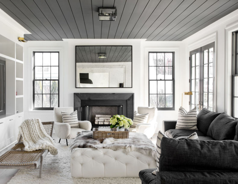 grey-ceilings-make-this-black-an-white-living-room-cozy-house-tour-via-coco-kelley