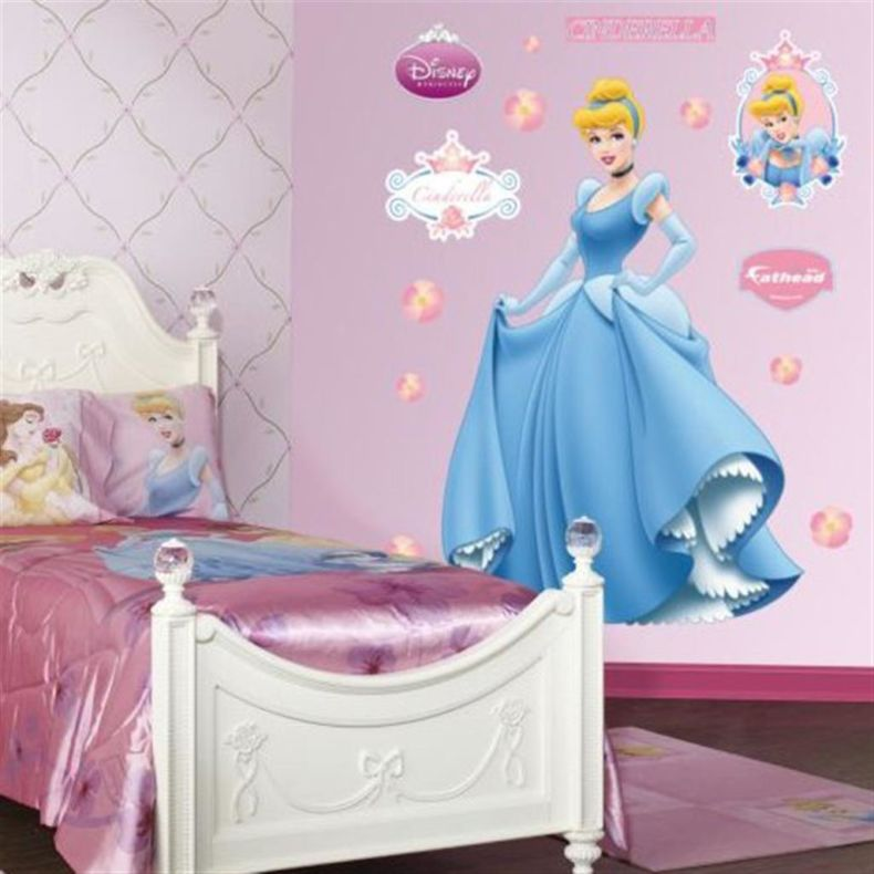 interior-cool-design-ideas-of-children-girls-bedroom-with-white-color-wooden-bed-frames-and-headboard-also-silky-purple-color-disney-princess-theme-covered-bedding-sheets-and-pillows-also-fur-carpet-a