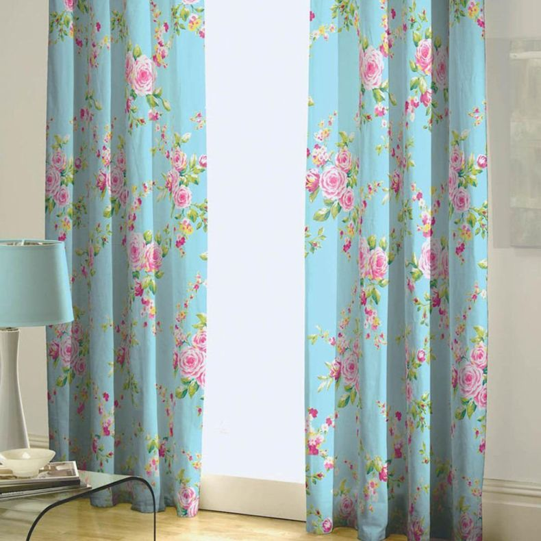 lucite-table-design-also-fancy-floral-print-kids-bedroom-curtain-idea-and-cool-blue-table-lamp-shade