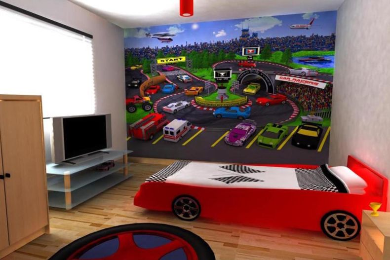 stunning-room-separator-ideas-for-childrens-bedroom-interior-designing-collection-with-red-car-shaped-bed-on-wooden-flooring-spaces-also-round-rugs-and-flat-television-unit-ideas