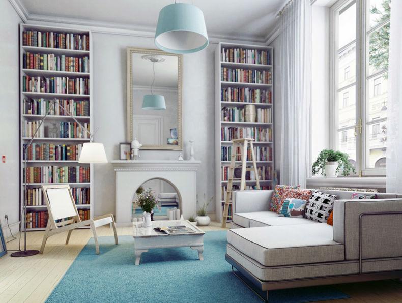 biblioteka-v-skandinavskom-stile