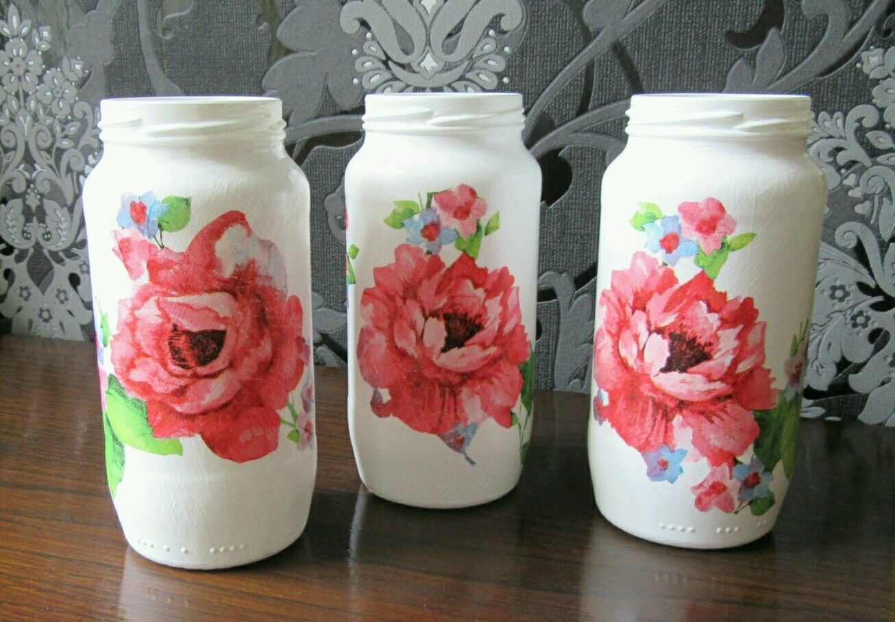 decorative-glass-jar-vases-red-floral-decoupage-set