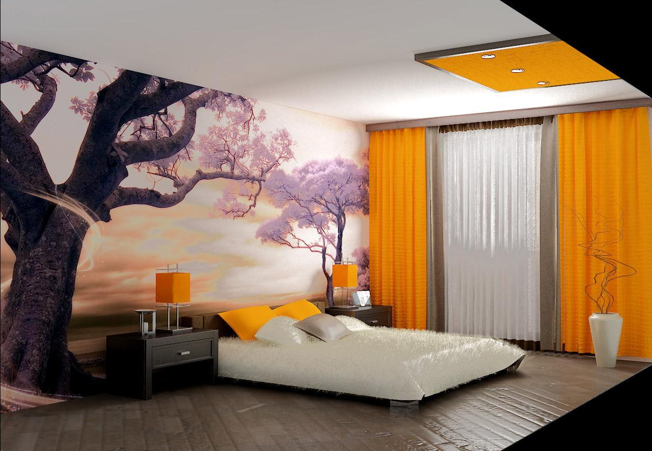 Идея для спальни собоями