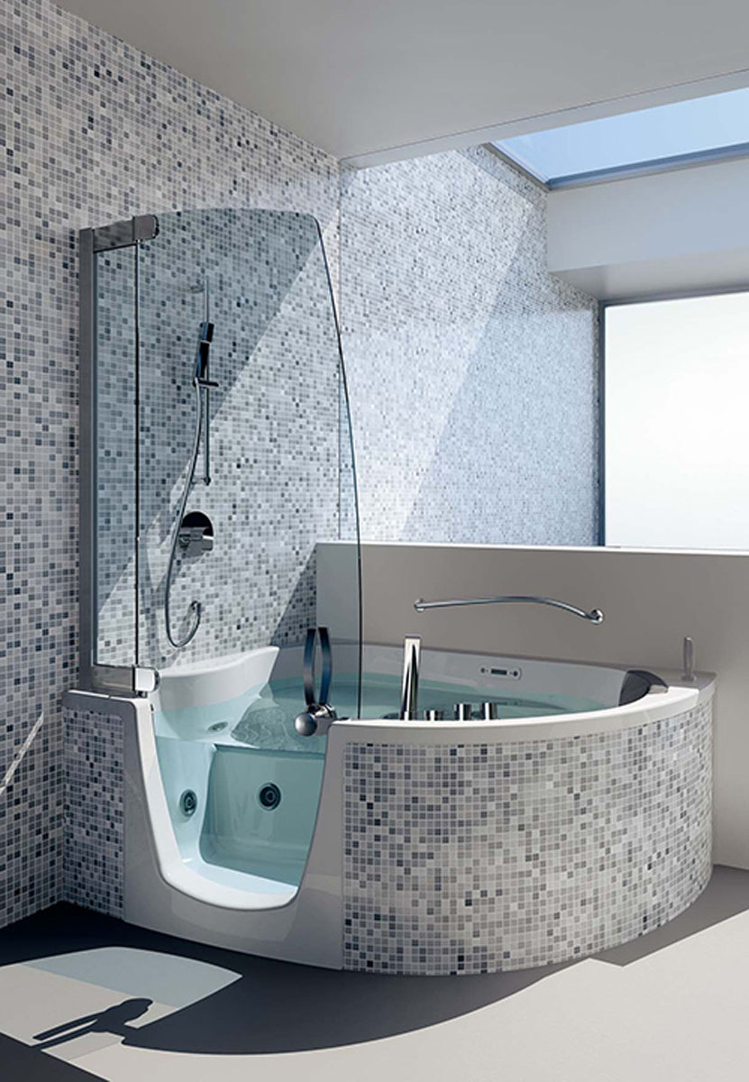 modern-bathroom-with-corner-bathtub-shower-combo-and-mosaic-ceramic-wall-tiles-by-teuco