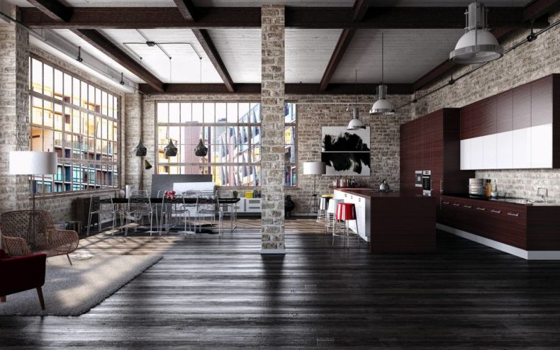 modern-interior-in-loft-style-kitchen-and-dining-room