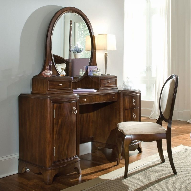 bedroom-furniture-brown-polished-mahogany-wood-dressing-table-with-oval-mirror-and-cabinet-storage-combined-with-amrless-chair-and-white-shade-table-lamp-antique-bedroom-vanity-with-mirror