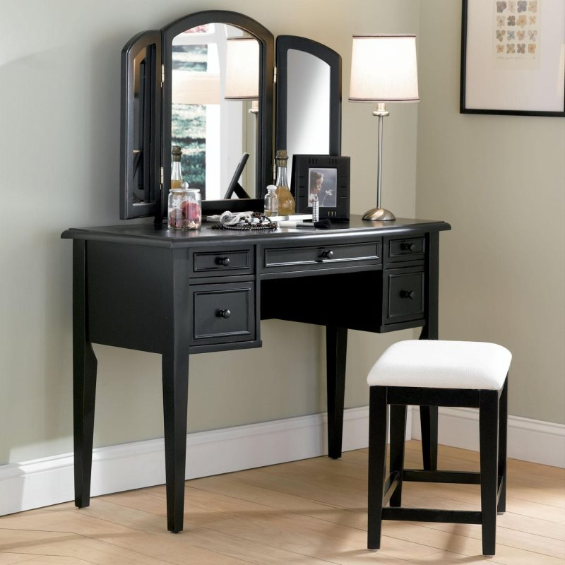 bedroom-furniture-custom-black-stained-teak-wood-dressing-table-having-fold-mirror-and-5-drawers-placed-in-light-gray-bedroom-bedroom-makeup-vanity-ideas