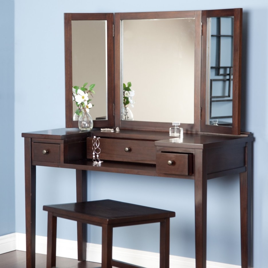 bedroom-simple-vanity-dressing-table-with-dark-brown-theme-designed-with-double-sides-mirrors-and-drawers-also-square-dark-brown-wooden-stool-combine-with-blue-wall-bedroom-vanity-dresser-ideas-936x93