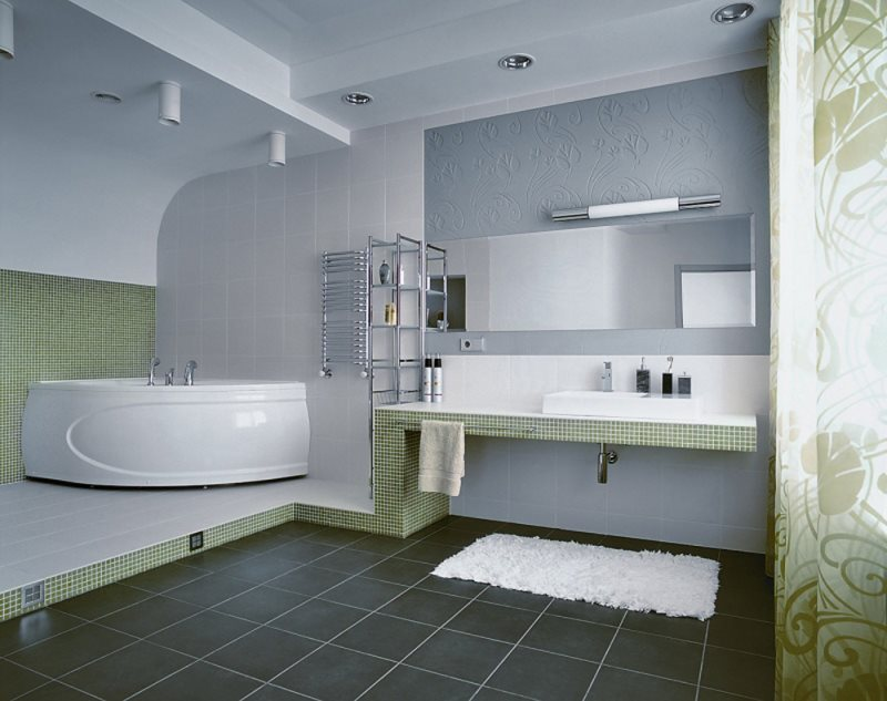 best-modern-bathroom-design-with-green-leaf-curtains-also-white-corner-bath-tub-on-green-tiles-and-white-square-sink-combined-stainless-towel-bar-incorporates-rectangular-mirrors-featuring-white-fur-r