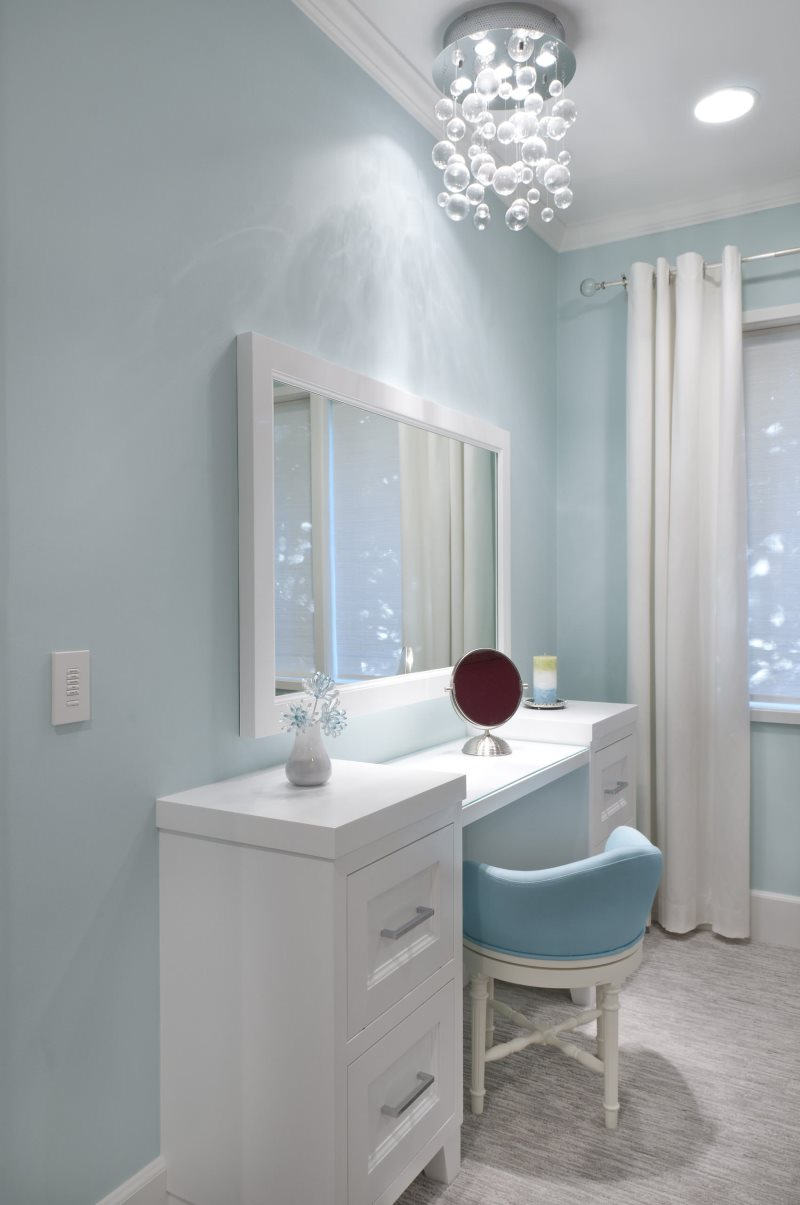bubble-chandelier-and-dressing-tables-with-mirrors-for-girls-bedroom-ideas-and-blue-paint-wall-also-curtain-and-crown-molding-plus-upholstered-chair