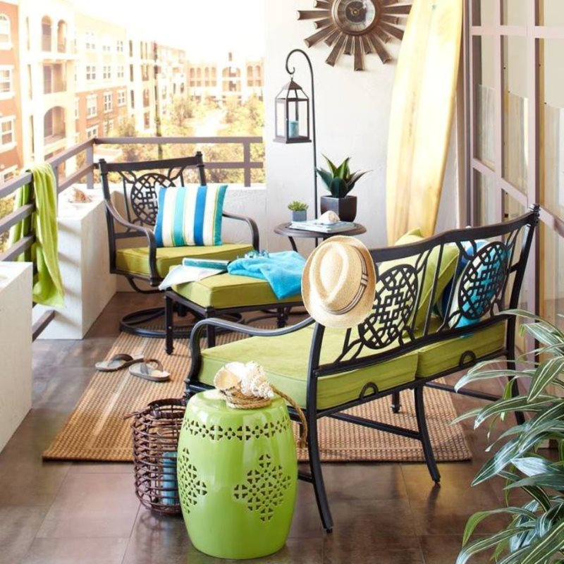 decorating-ideas-for-balcony-with-metal-furniture-and-garden-stools-and-lantern