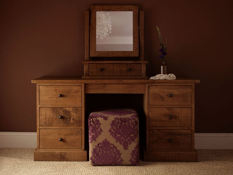 diy-dressing-table-ideas-for-bedroom-with-natural-teak-wooden-and-having-seven-drawers-also-swing-panel-square-mirror-frames-added-purple-floral-pattern-cube-ottoman