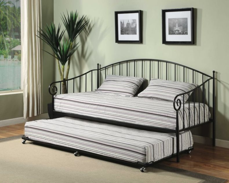 ebay-queen-bed-frame-made-of-stainless-steel-has-black-colors-and-rails-curved-headboard-in-two-level-design-has-pulling-mattress-for-lower-side-with-round-wheels-legs-completed-striped-black-and-whit