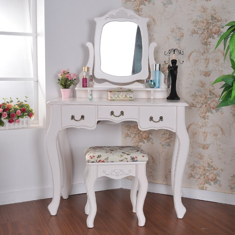 furniture-bedroom-white-bedroom-vanity-make-up-table-set-with-three-drawer-and-swing-mirror-plus-bronze-metal-handle-bedroom-makeup-vanity-ideas