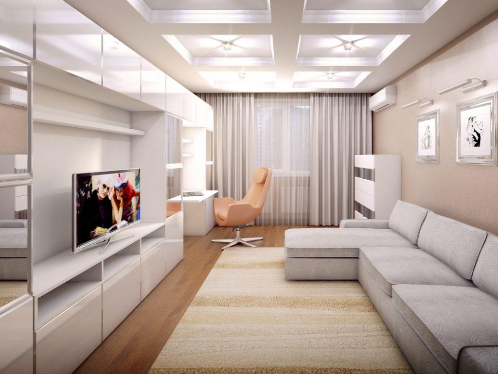 Дизайн проект гостиной 18 кв м фото