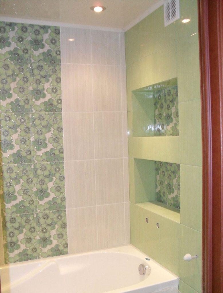 Дизайн ванной с полками из гипсокартона