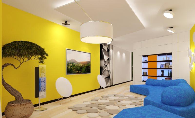zheltyy-cvet-sten-v-interere-gostinoy-v-stile-modern