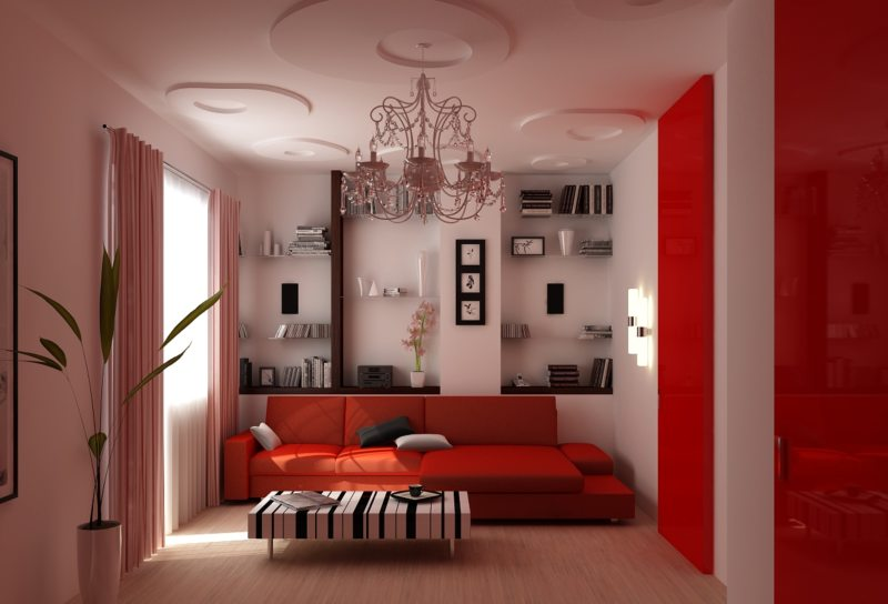 Интерьер комнаты собоями цветы
