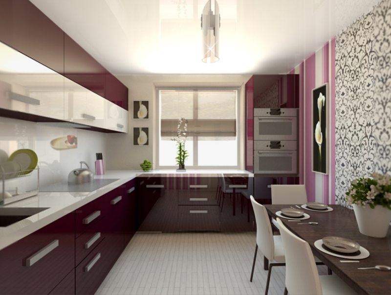 дизайн длинной и узкой кухни фото
