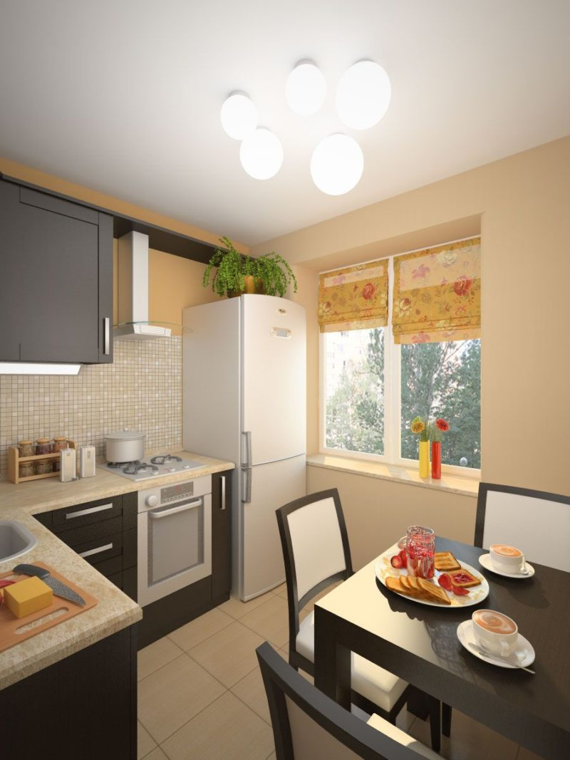 Дизайн узкой кухни (26)