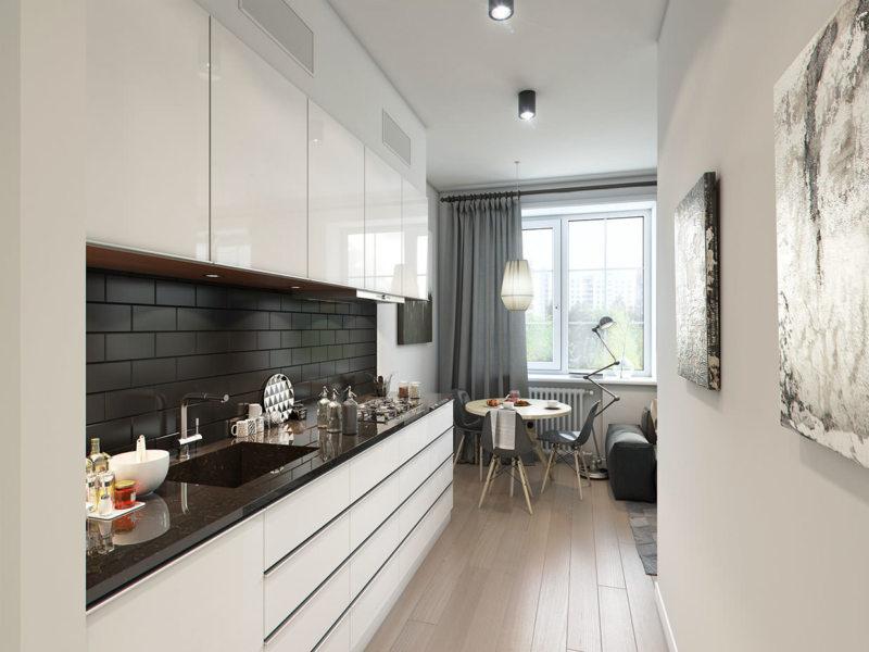 Дизайн узкой кухни (29)