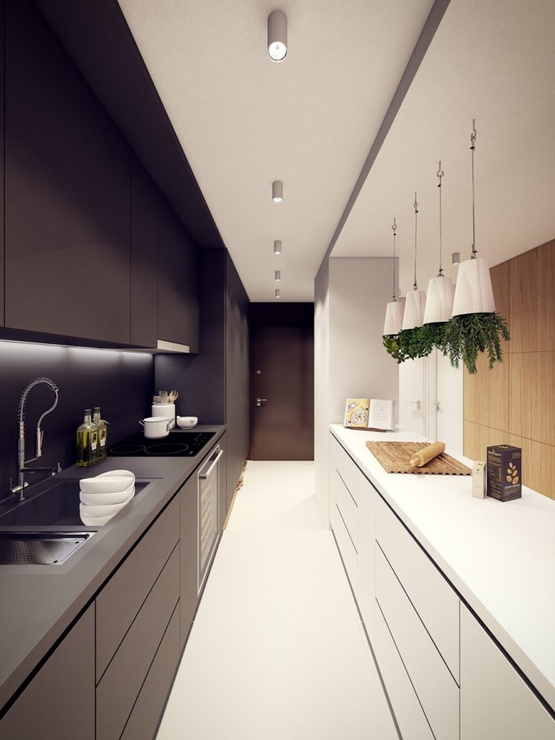 Дизайн узкой кухни (30)