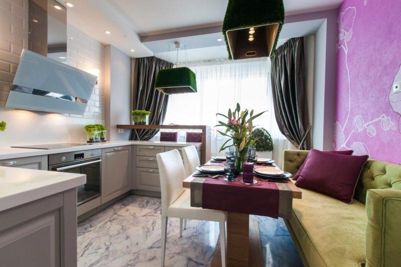 Дизайн узкой кухни (33)