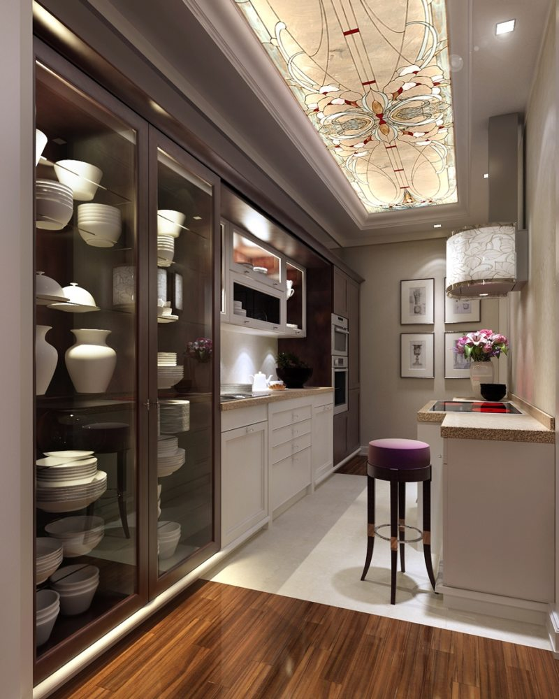 Дизайн узкой кухни (37)