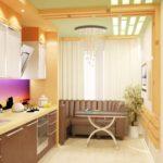 Дизайн узкой кухни (43)