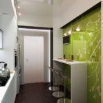 Дизайн узкой кухни (55)