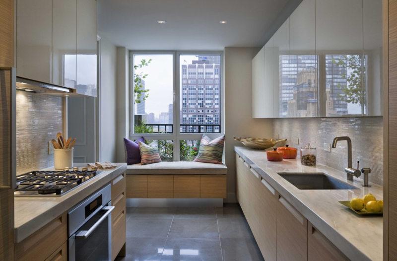 Дизайн узкой кухни (58)