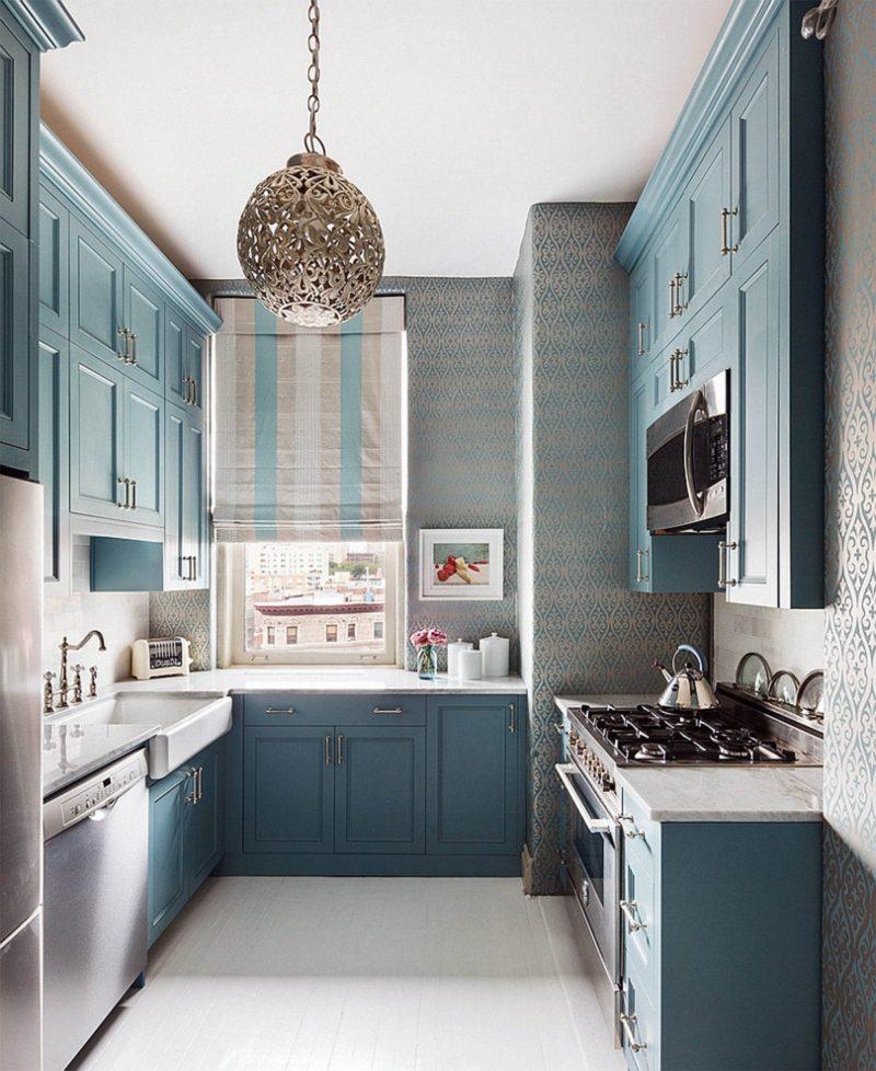 Дизайн узкой кухни (64)